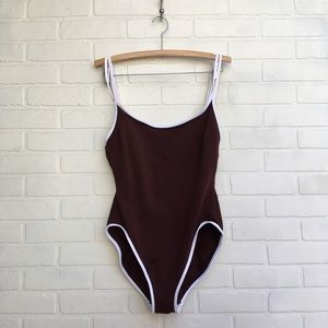 Vintage 90's Brown One Piece Swimsuit